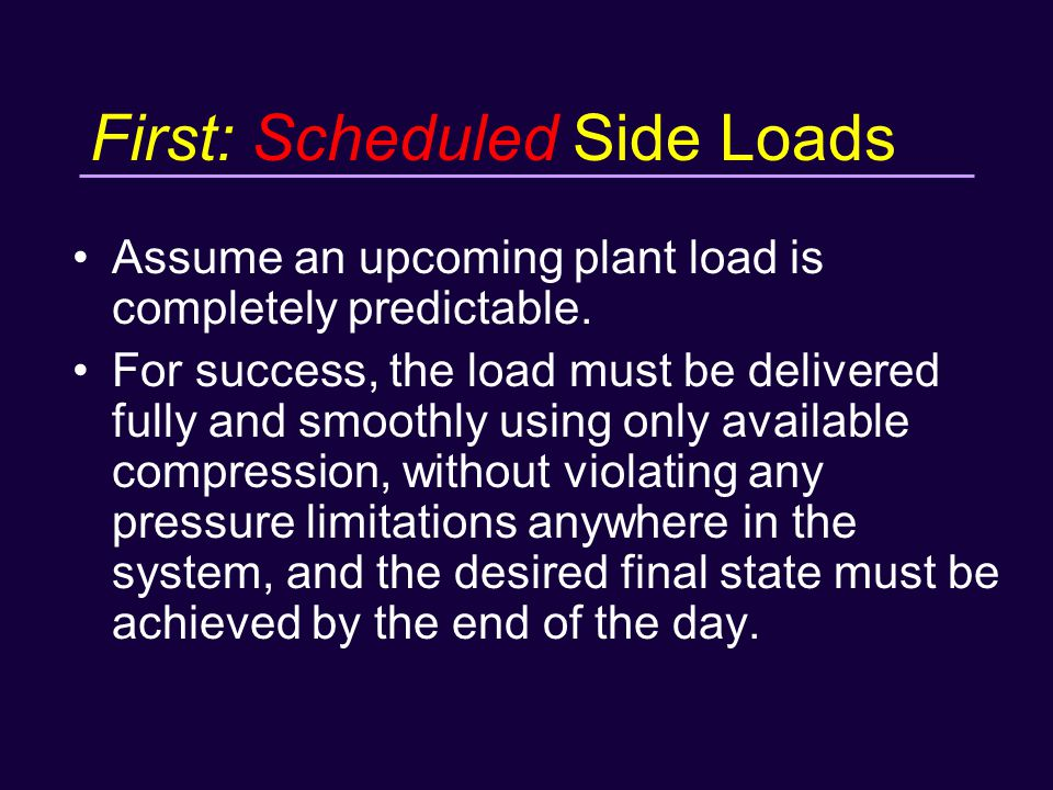 First: Scheduled Side Loads Assume an upcoming plant load is completely predictable.
