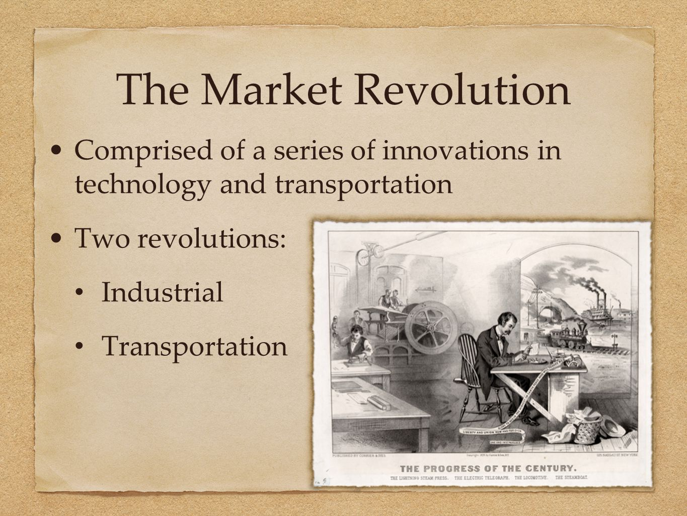 The Market Revolution Comprised of a series of innovations in technology and transportation Two revolutions: Industrial Transportation