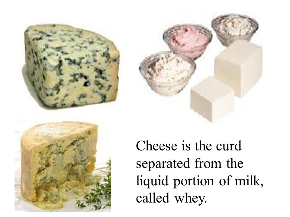 Cheese is the curd separated from the liquid portion of milk, called whey.