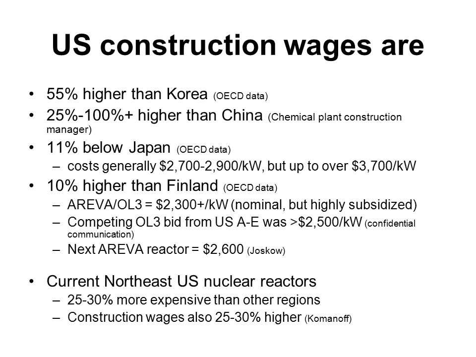 US construction wages are 55% higher than Korea (OECD data) 25%-100%+ higher than China (Chemical plant construction manager) 11% below Japan (OECD data) –costs generally $2,700-2,900/kW, but up to over $3,700/kW 10% higher than Finland (OECD data) –AREVA/OL3 = $2,300+/kW (nominal, but highly subsidized) –Competing OL3 bid from US A-E was >$2,500/kW (confidential communication) –Next AREVA reactor = $2,600 (Joskow) Current Northeast US nuclear reactors –25-30% more expensive than other regions –Construction wages also 25-30% higher (Komanoff)