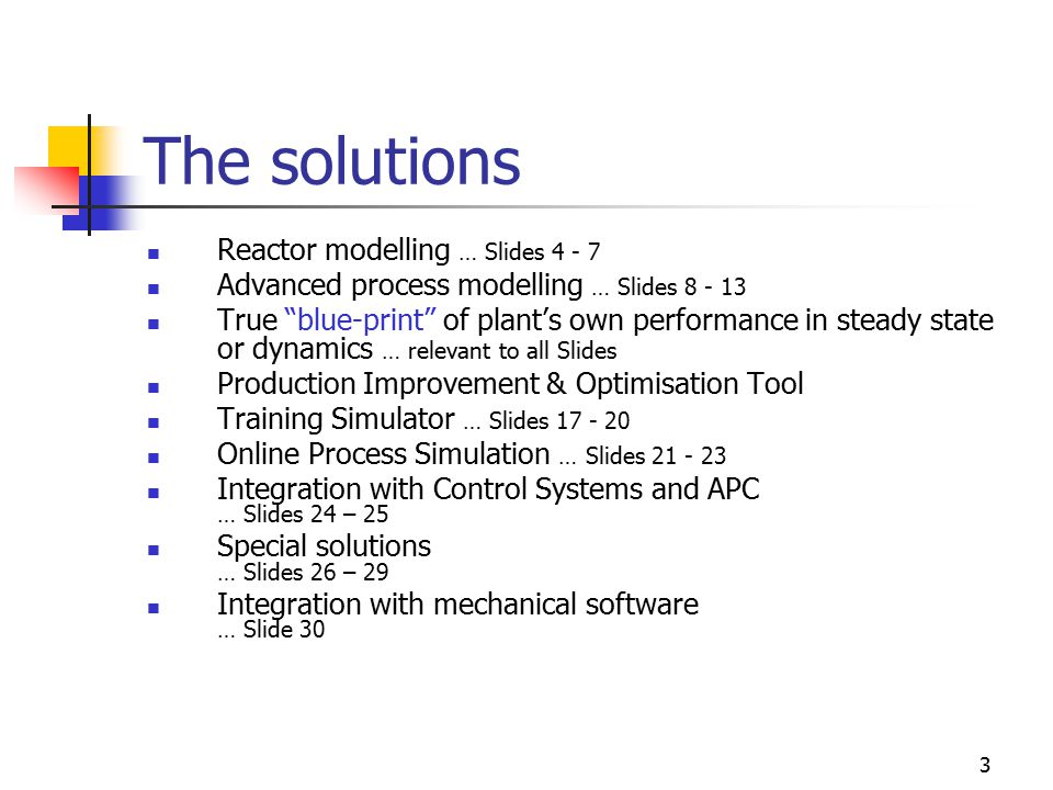 3 The solutions Reactor modelling … Slides 4 - 7 Advanced process modelling … Slides 8 - 13 True blue-print of plant's own performance in steady state or dynamics … relevant to all Slides Production Improvement & Optimisation Tool Training Simulator … Slides 17 - 20 Online Process Simulation … Slides 21 - 23 Integration with Control Systems and APC … Slides 24 – 25 Special solutions … Slides 26 – 29 Integration with mechanical software … Slide 30