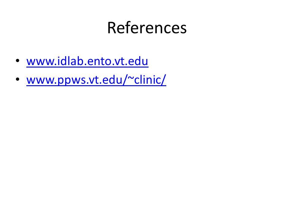 References www.idlab.ento.vt.edu www.ppws.vt.edu/~clinic/