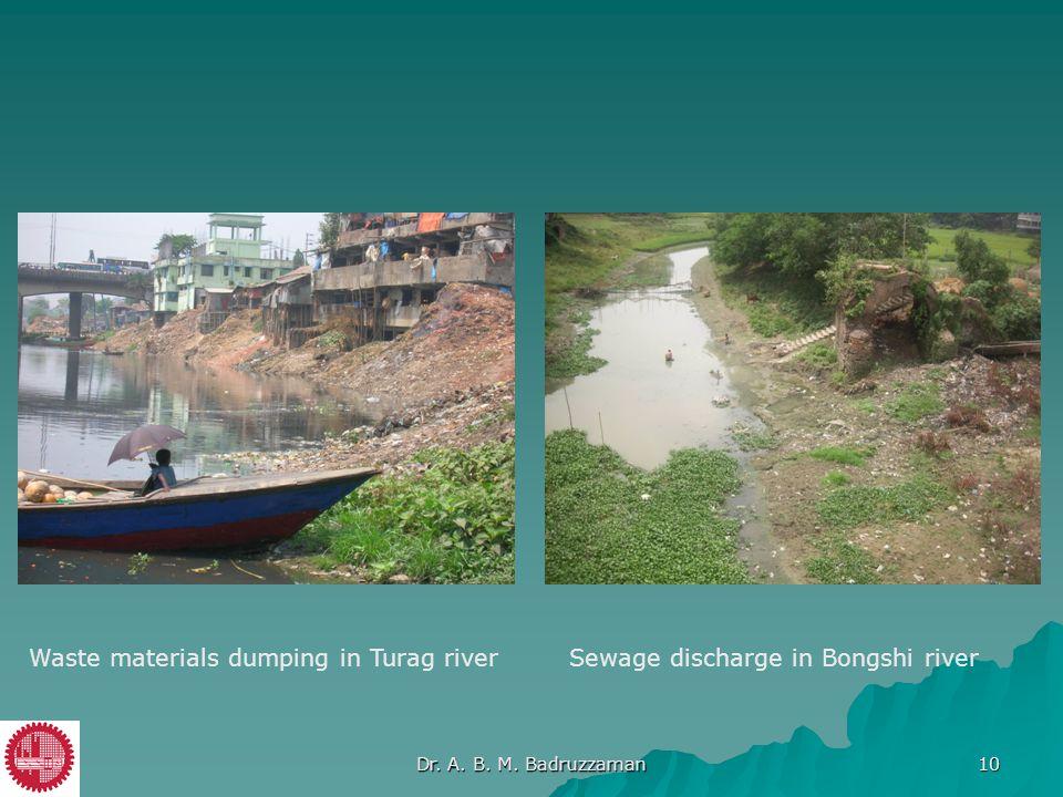 Waste materials dumping in Turag riverSewage discharge in Bongshi river Dr. A. B. M. Badruzzaman 10
