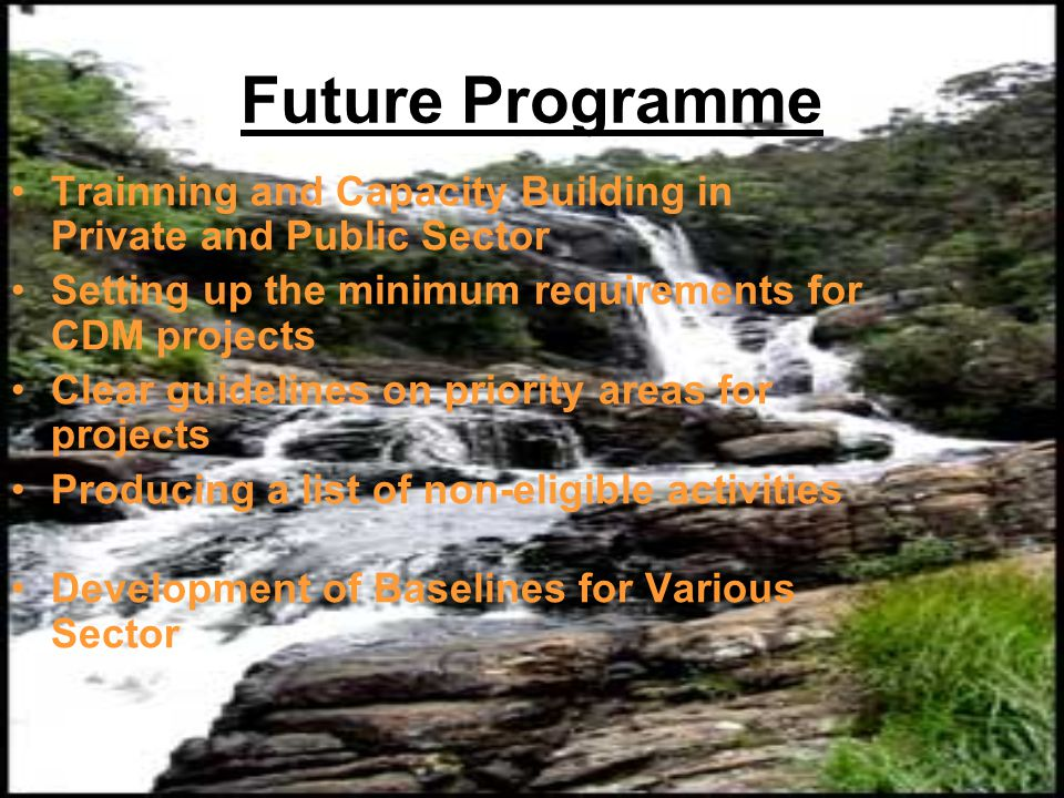 Future Programme Trainning and Capacity Building in Private and Public Sector Setting up the minimum requirements for CDM projects Clear guidelines on priority areas for projects Producing a list of non-eligible activities Development of Baselines for Various Sector