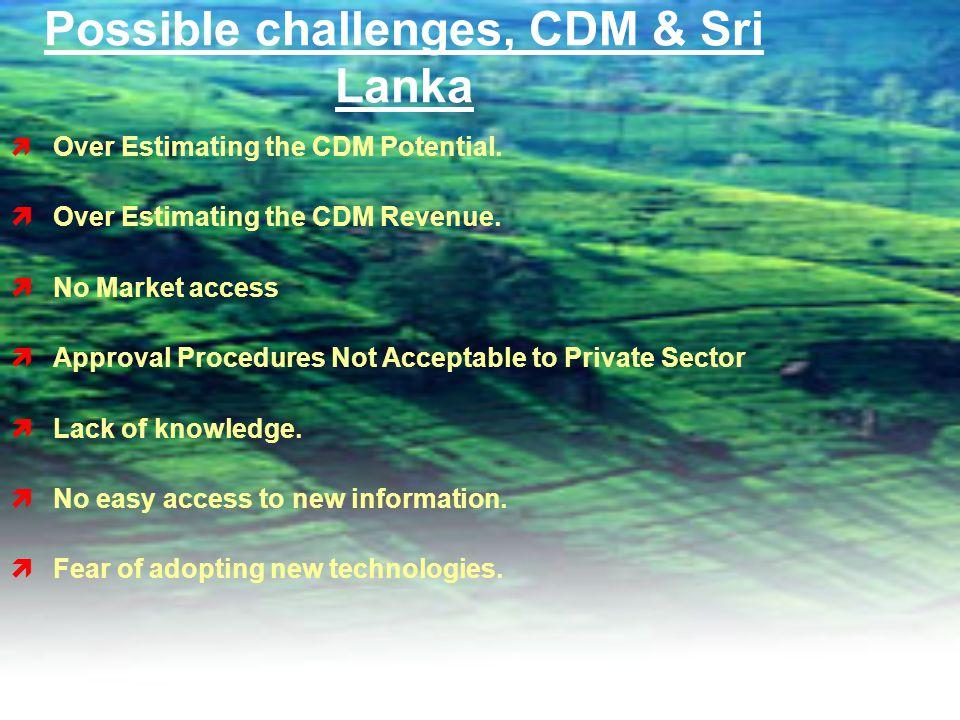 Possible challenges, CDM & Sri Lanka  Over Estimating the CDM Potential.
