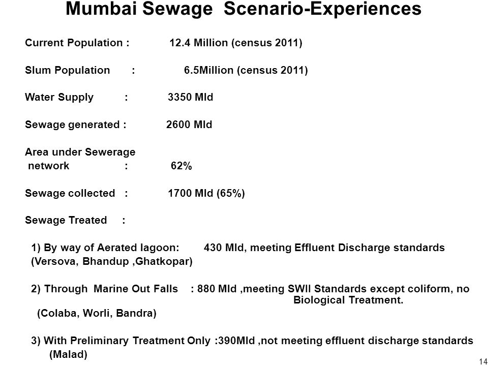 14 Mumbai Sewage Scenario-Experiences Current Population : 12.4 Million (census 2011) Slum Population : 6.5Million (census 2011) Water Supply : 3350 Mld Sewage generated : 2600 Mld Area under Sewerage network : 62% Sewage collected : 1700 Mld (65%) Sewage Treated : 1) By way of Aerated lagoon: 430 Mld, meeting Effluent Discharge standards (Versova, Bhandup,Ghatkopar) 2) Through Marine Out Falls : 880 Mld,meeting SWII Standards except coliform, no Biological Treatment.