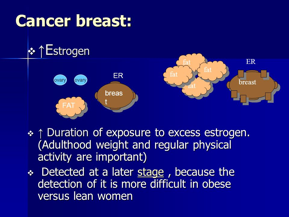 Cancer breast:  ↑ E strogen  ↑ Duration of exposure to excess estrogen.