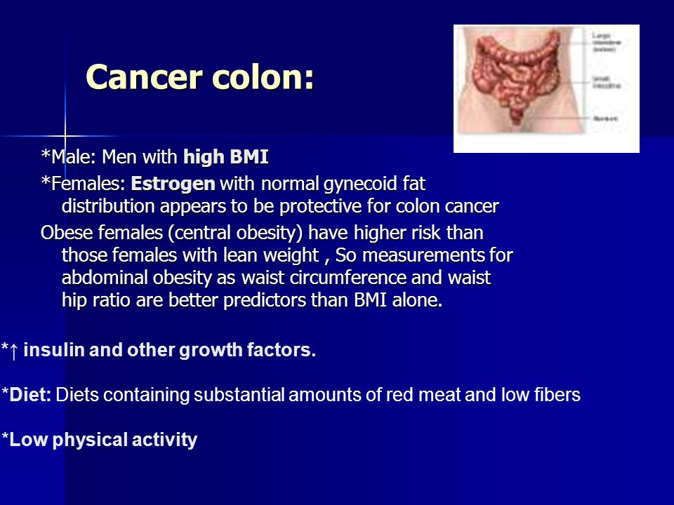 Cancer colon: *Male: Men with high BMI *Females: Estrogen with normal gynecoid fat distribution appears to be protective for colon cancer Obese females (central obesity) have higher risk than those females with lean weight, So measurements for abdominal obesity as waist circumference and waist hip ratio are better predictors than BMI alone.