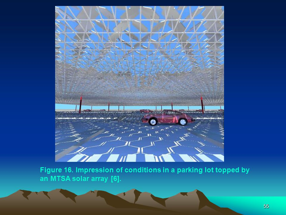 55 Figure 16. Impression of conditions in a parking lot topped by an MTSA solar array [6].