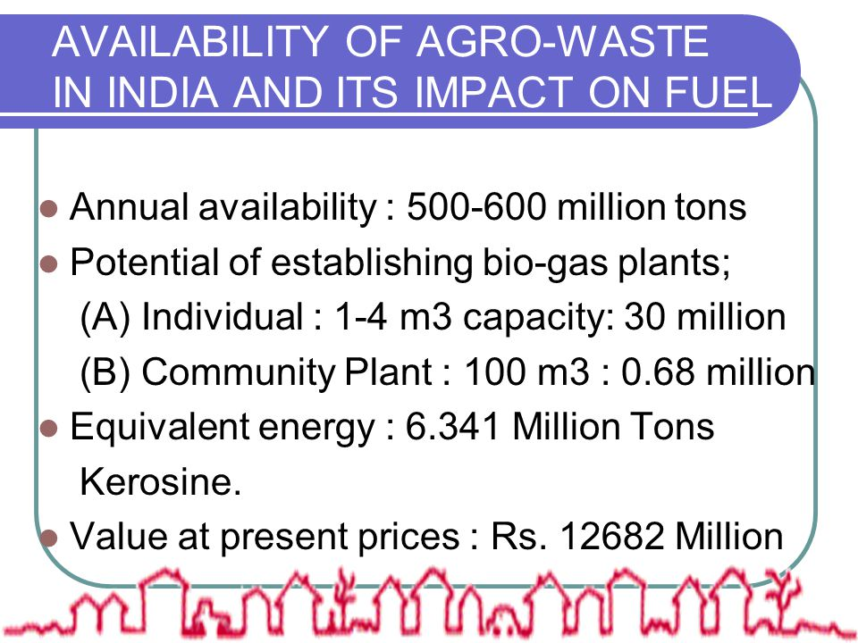 AVAILABILITY OF AGRO-WASTE IN INDIA AND ITS IMPACT ON FUEL Annual availability : 500-600 million tons Potential of establishing bio-gas plants; (A) In