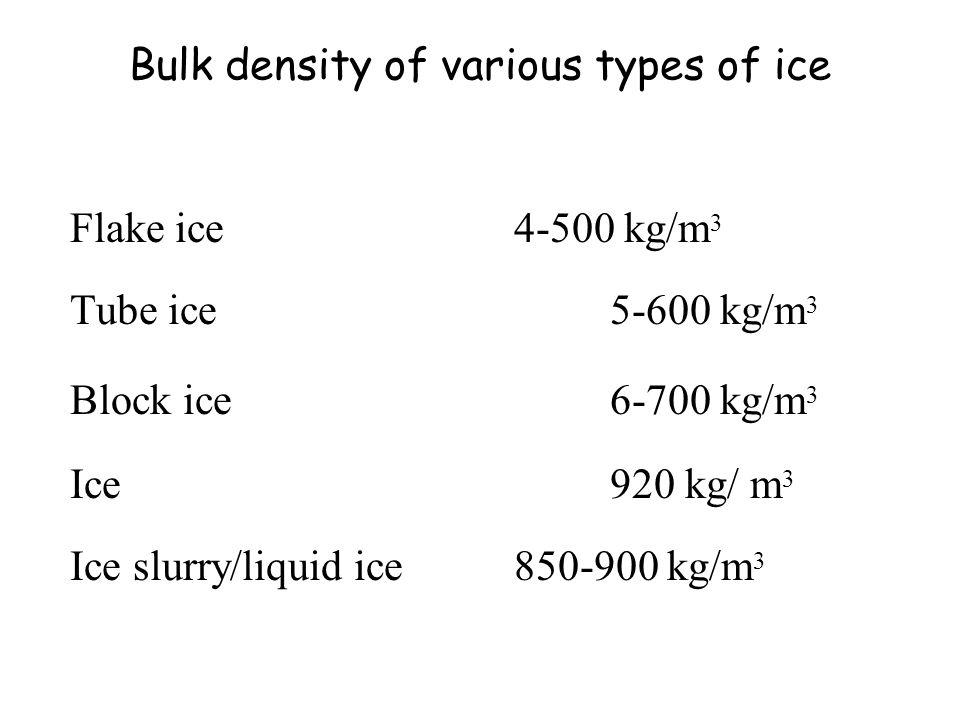 Bulk density of various types of ice Flake ice4-500 kg/m 3 Tube ice5-600 kg/m 3 Block ice 6-700 kg/m 3 Ice920 kg/ m 3 Ice slurry/liquid ice850-900 kg/m 3
