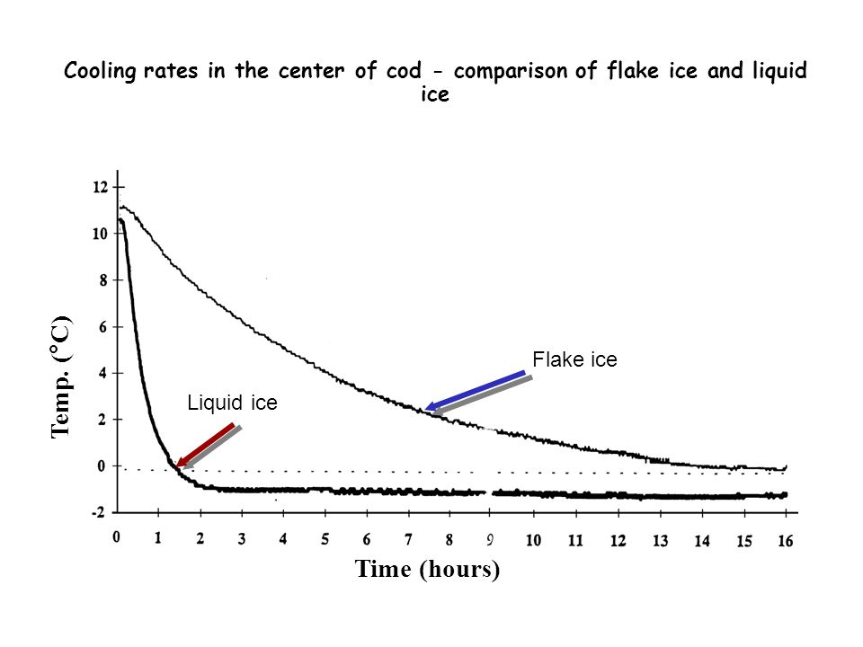 Cooling rates in the center of cod - comparison of flake ice and liquid ice Temp.