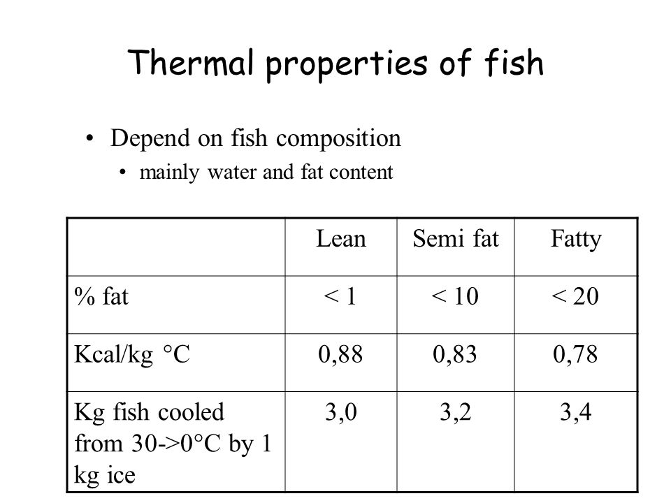 Properties of different types Ice liquid mixtures +RSW completely surround the fish have good heat transfer properties cool fast In case of seawater salt uptake can be a problem if fish is kept long in the mixture