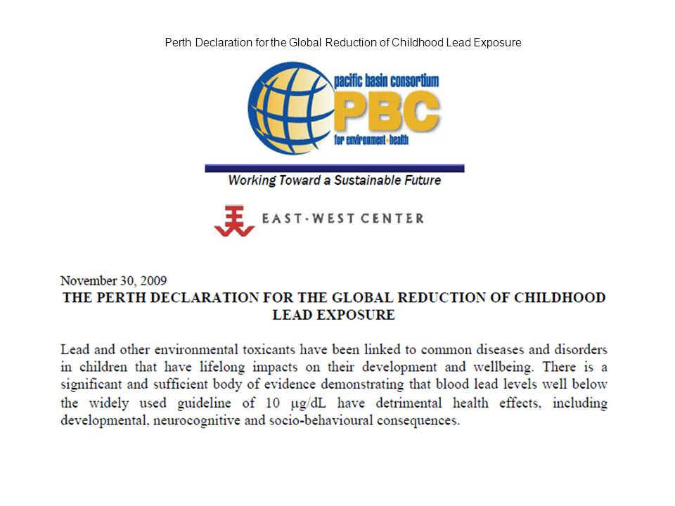 Perth Declaration for the Global Reduction of Childhood Lead Exposure