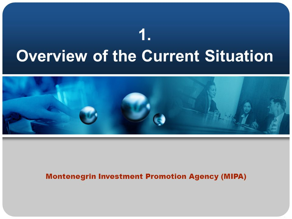 1. Overview of the Current Situation Montenegrin Investment Promotion Agency (MIPA)