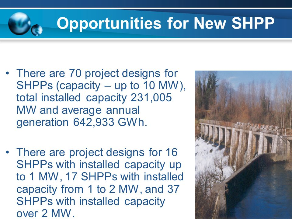 Opportunities for New SHPP There are 70 project designs for SHPPs (capacity – up to 10 MW), total installed capacity 231,005 MW and average annual gen