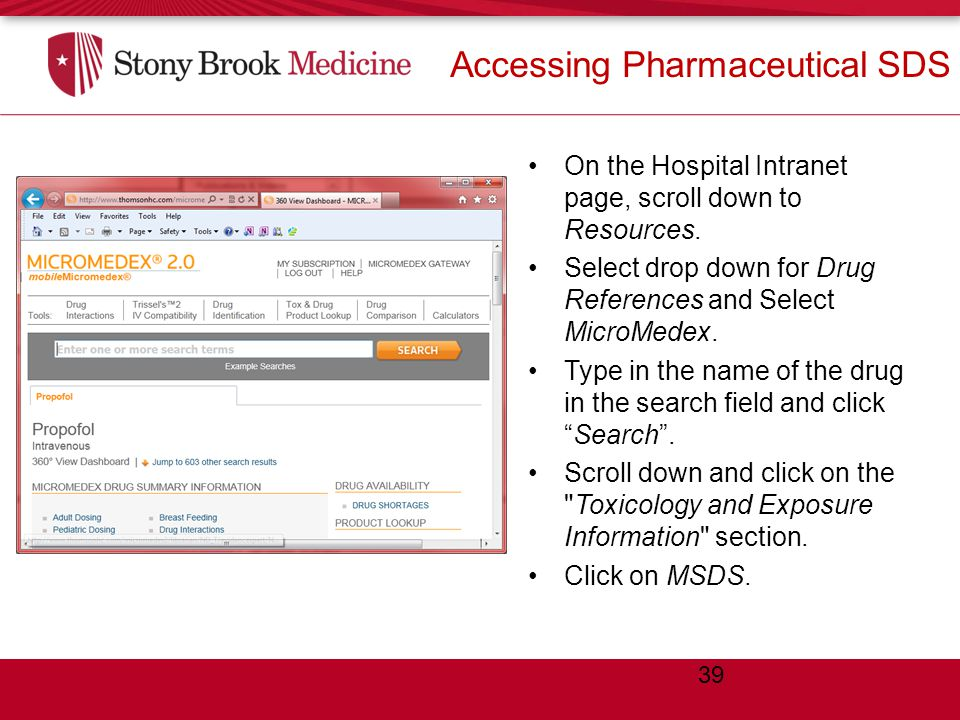Accessing Pharmaceutical SDS On the Hospital Intranet page, scroll down to Resources.