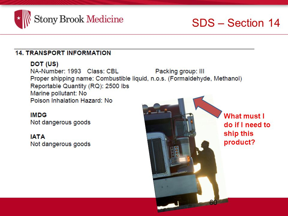 Section 14 – Transport Information What must I do if I need to ship this product.