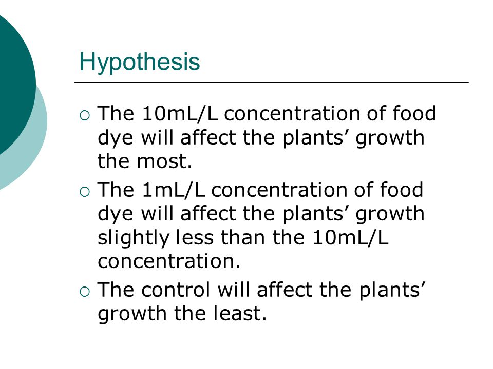 Hypothesis  The 10mL/L concentration of food dye will affect the plants' growth the most.