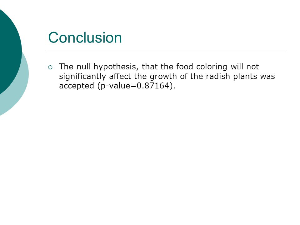 Conclusion  The null hypothesis, that the food coloring will not significantly affect the growth of the radish plants was accepted (p-value=0.87164).