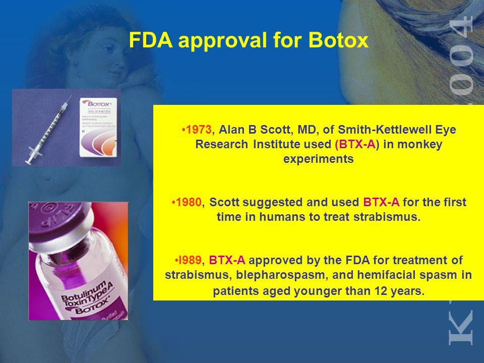 20 th century History of BTX-A toxin 1944, Edward Schantz cultured Clostridium botulinum and isolated the toxin (BTX-A).