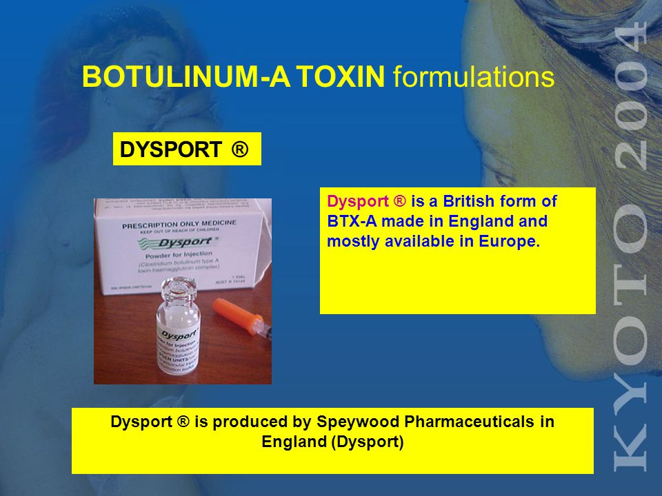 BOTULINUM-A TOXIN formulations Botox® is an American form of BTX-A produced from the Hall strain of C botulinum Botox ® is distributed by Allergan Inc.