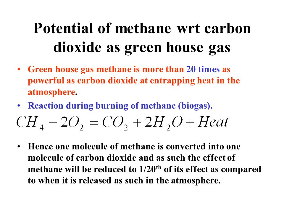 Potential of methane wrt carbon dioxide as green house gas Green house gas methane is more than 20 times as powerful as carbon dioxide at entrapping h