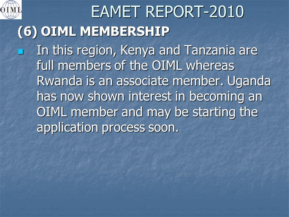 EAMET REPORT-2010 (6) OIML MEMBERSHIP In this region, Kenya and Tanzania are full members of the OIML whereas Rwanda is an associate member.