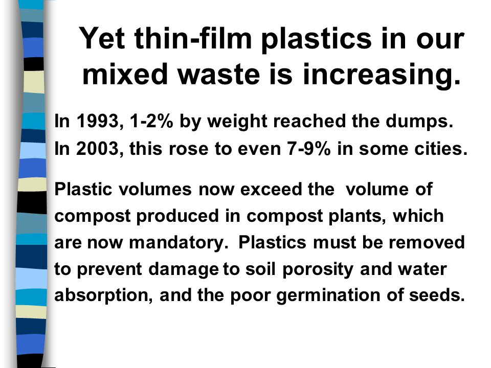 Thin-film plastics on right are more voluminous than the sieved compost produced.