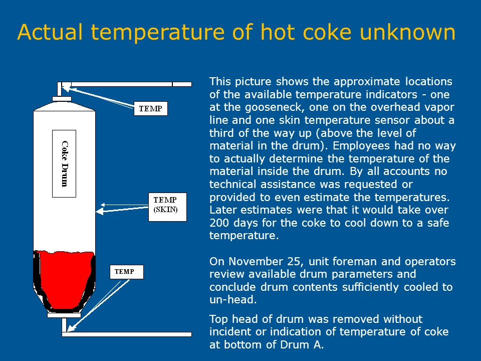 Actual temperature of hot coke unknown This picture shows the approximate locations of the available temperature indicators - one at the gooseneck, on