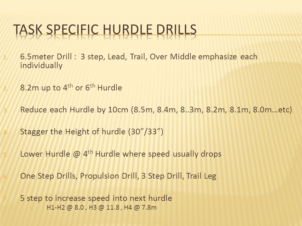 1.6.5meter Drill : 3 step, Lead, Trail, Over Middle emphasize each individually 2.
