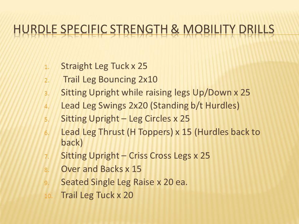 1.Straight Leg Tuck x 25 2. Trail Leg Bouncing 2x10 3.