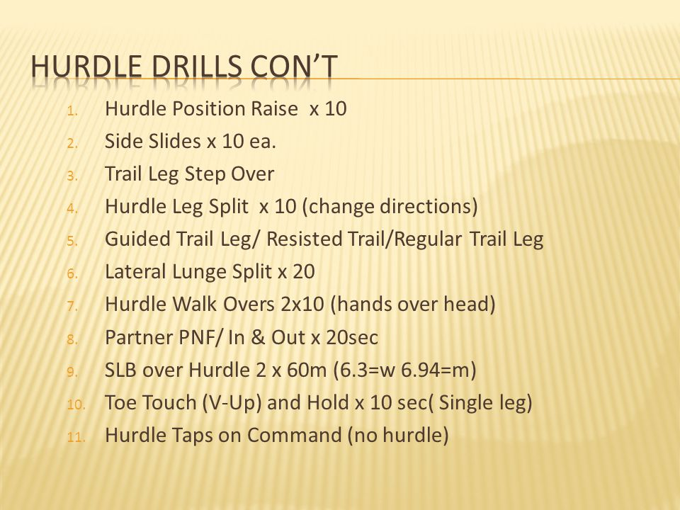 1.Hurdle Position Raise x 10 2. Side Slides x 10 ea.