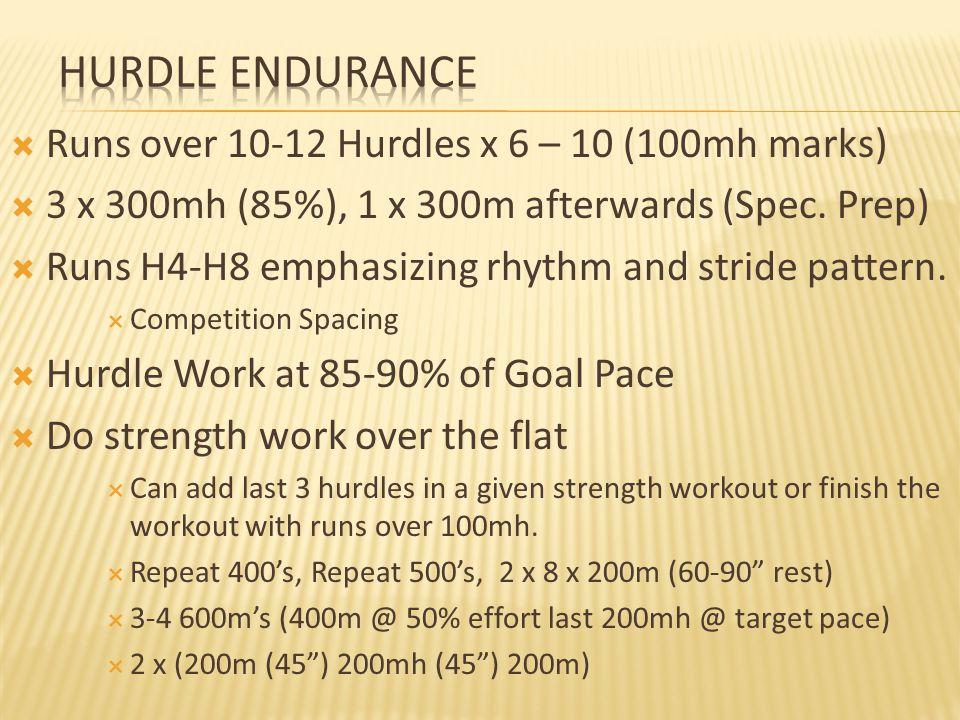  Runs over 10-12 Hurdles x 6 – 10 (100mh marks)  3 x 300mh (85%), 1 x 300m afterwards (Spec.