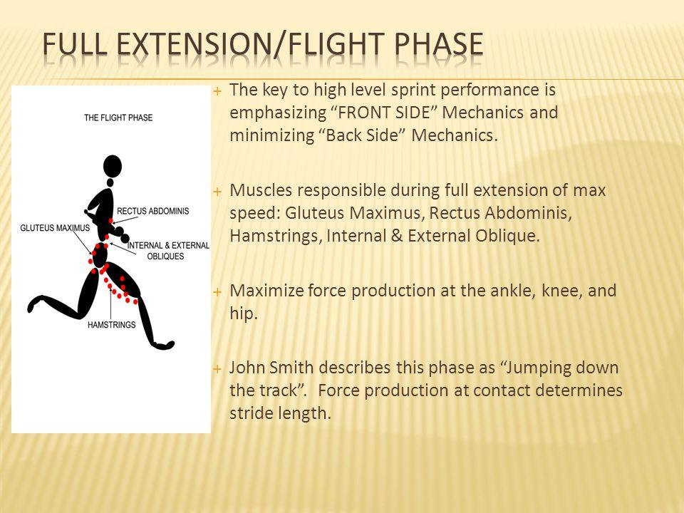  The key to high level sprint performance is emphasizing FRONT SIDE Mechanics and minimizing Back Side Mechanics.