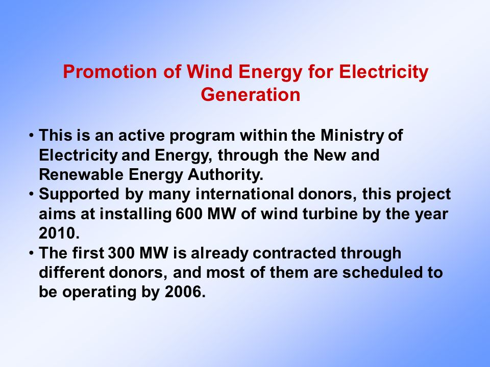 Promotion of Wind Energy for Electricity Generation This is an active program within the Ministry of Electricity and Energy, through the New and Renewable Energy Authority.
