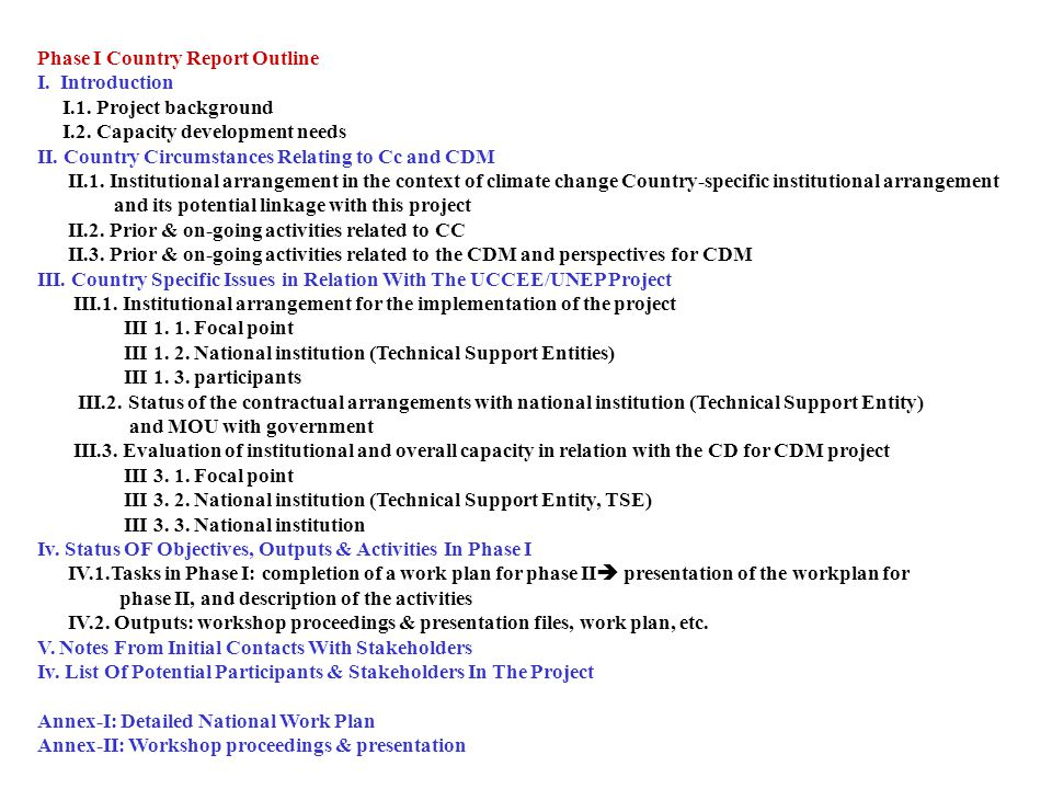Phase I Country Report Outline I. Introduction I.1.