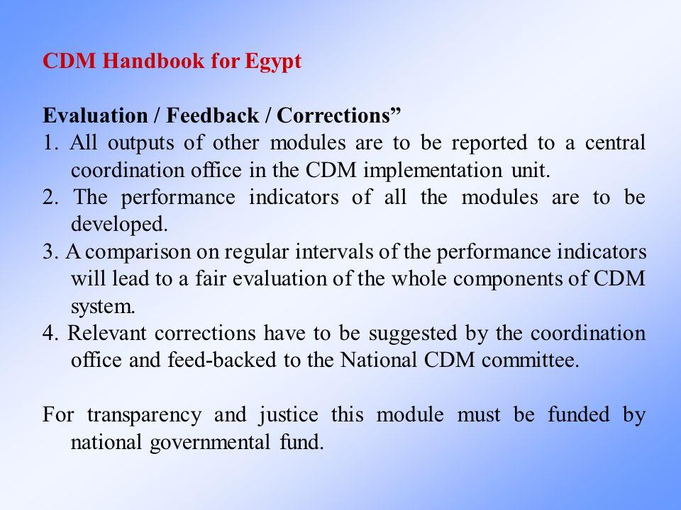 CDM Handbook for Egypt Evaluation / Feedback / Corrections 1.
