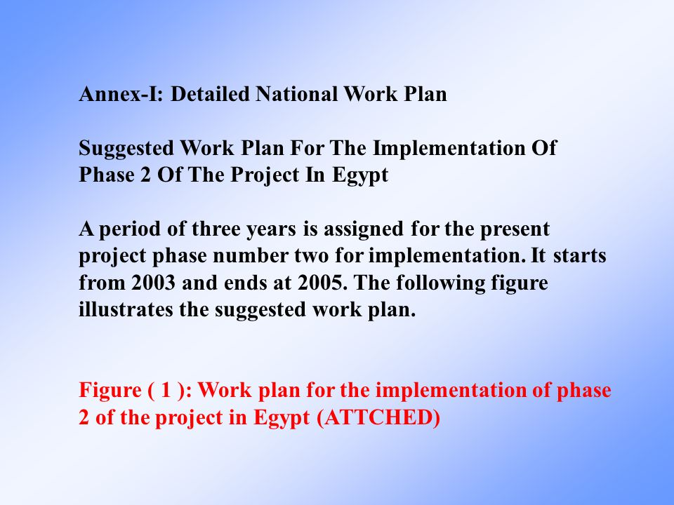 Annex-I: Detailed National Work Plan Suggested Work Plan For The Implementation Of Phase 2 Of The Project In Egypt A period of three years is assigned for the present project phase number two for implementation.