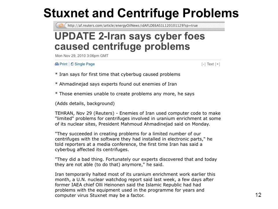 12 Stuxnet and Centrifuge Problems