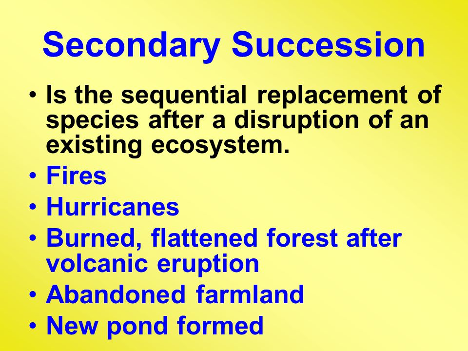 Secondary Succession Is the sequential replacement of species after a disruption of an existing ecosystem.