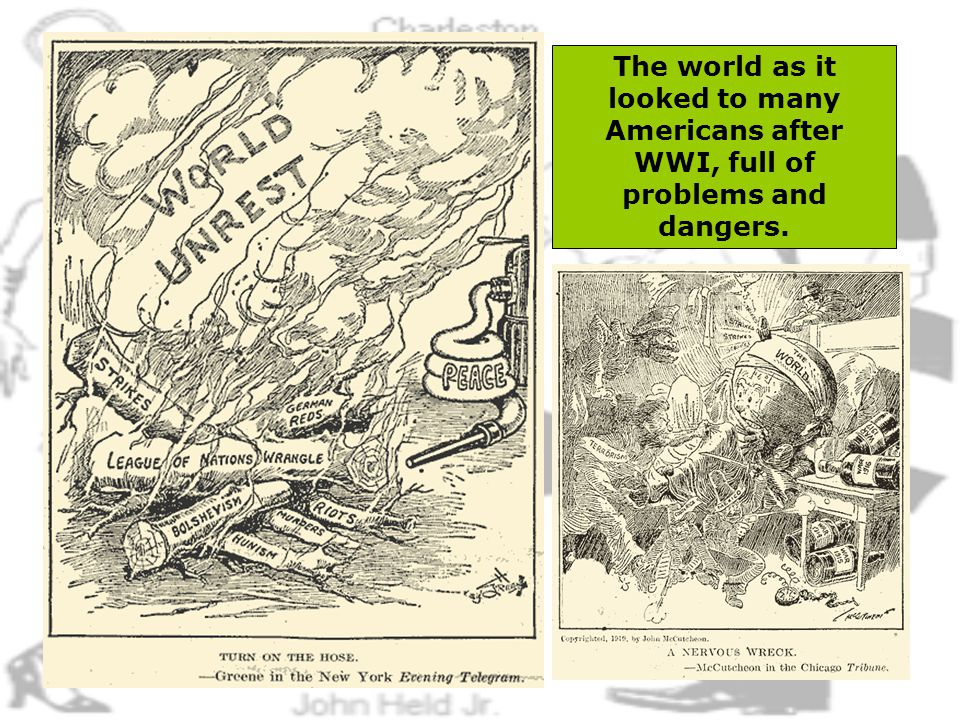 4 The world as it looked to many Americans after WWI, full of problems and dangers.