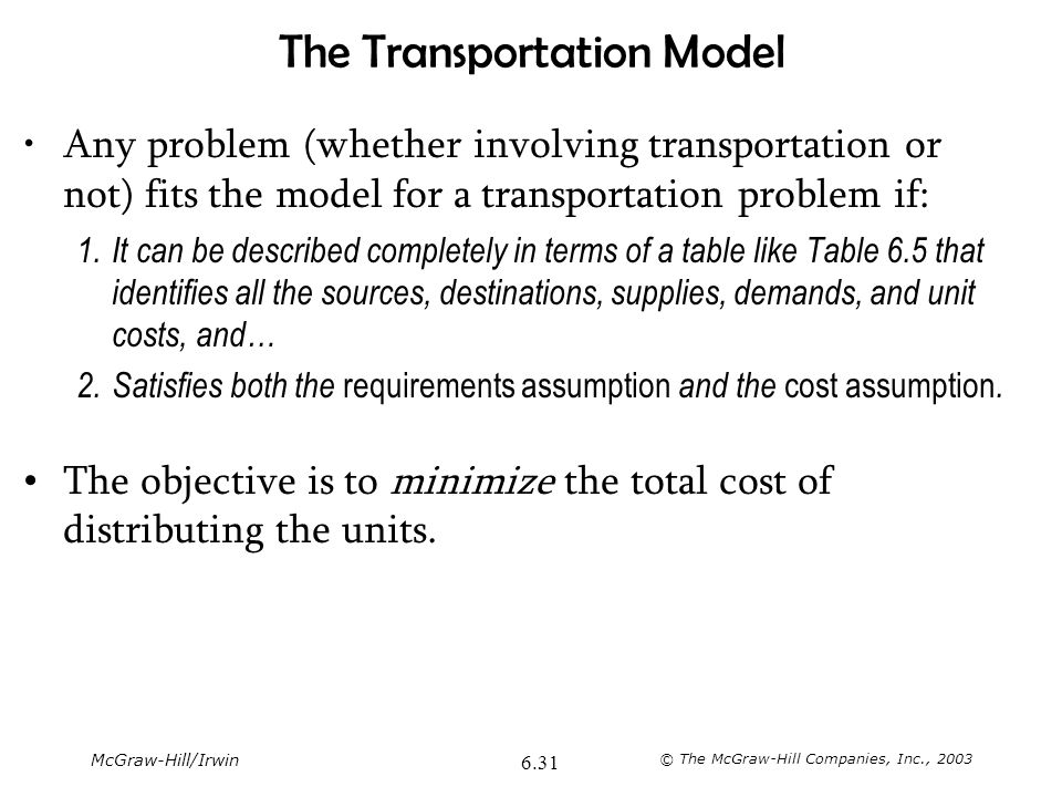 McGraw-Hill/Irwin © The McGraw-Hill Companies, Inc., 2003 6.31 The Transportation Model Any problem (whether involving transportation or not) fits the
