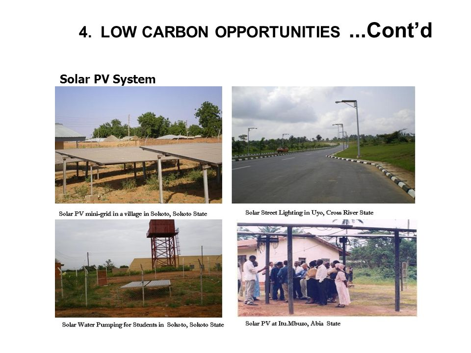 4. LOW CARBON OPPORTUNITIES...Cont'd Solar PV System