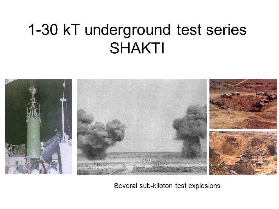 1-30 kT underground test series SHAKTI Several sub-kiloton test explosions