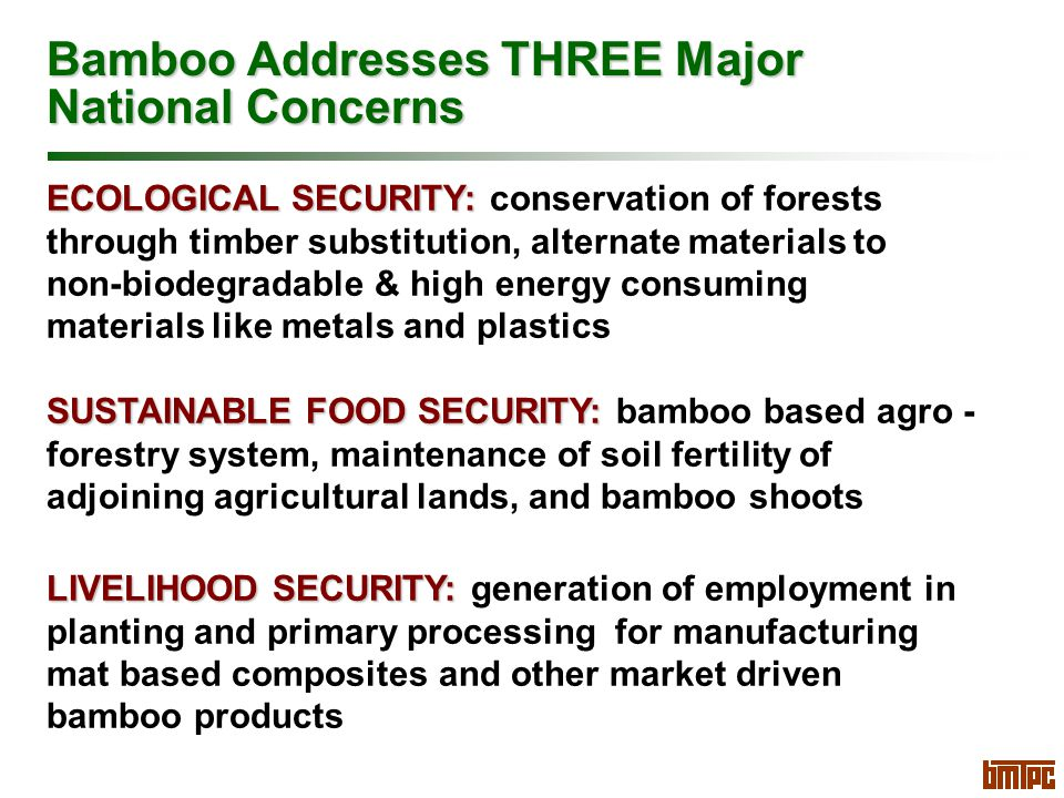 Bamboo Addresses THREE Major National Concerns ECOLOGICAL SECURITY: ECOLOGICAL SECURITY: conservation of forests through timber substitution, alternate materials to non-biodegradable & high energy consuming materials like metals and plastics SUSTAINABLE FOOD SECURITY: SUSTAINABLE FOOD SECURITY: bamboo based agro - forestry system, maintenance of soil fertility of adjoining agricultural lands, and bamboo shoots LIVELIHOOD SECURITY: LIVELIHOOD SECURITY: generation of employment in planting and primary processing for manufacturing mat based composites and other market driven bamboo products