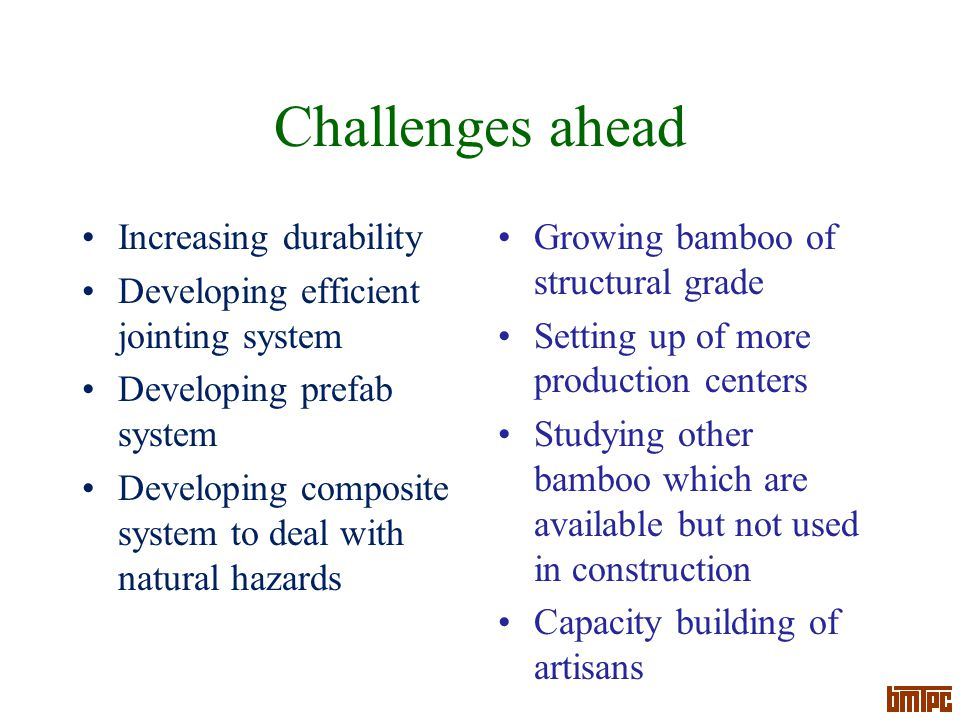 Challenges ahead Increasing durability Developing efficient jointing system Developing prefab system Developing composite system to deal with natural hazards Growing bamboo of structural grade Setting up of more production centers Studying other bamboo which are available but not used in construction Capacity building of artisans