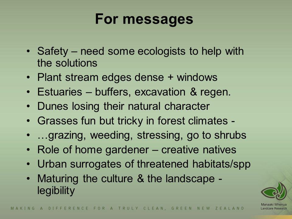 For messages Safety – need some ecologists to help with the solutions Plant stream edges dense + windows Estuaries – buffers, excavation & regen. Dune