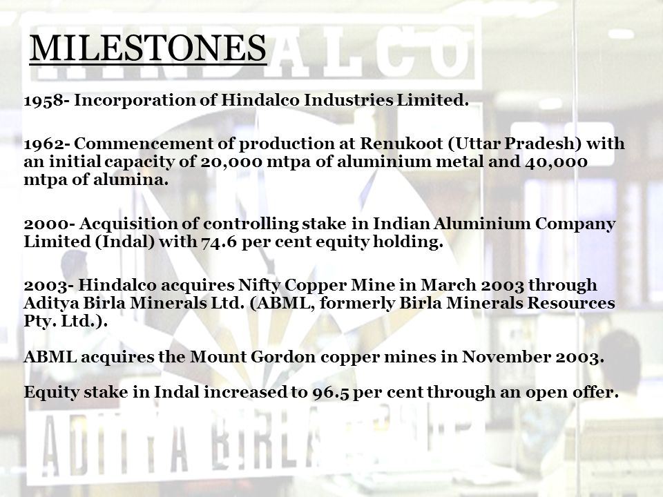 MILESTONES 1958- Incorporation of Hindalco Industries Limited.