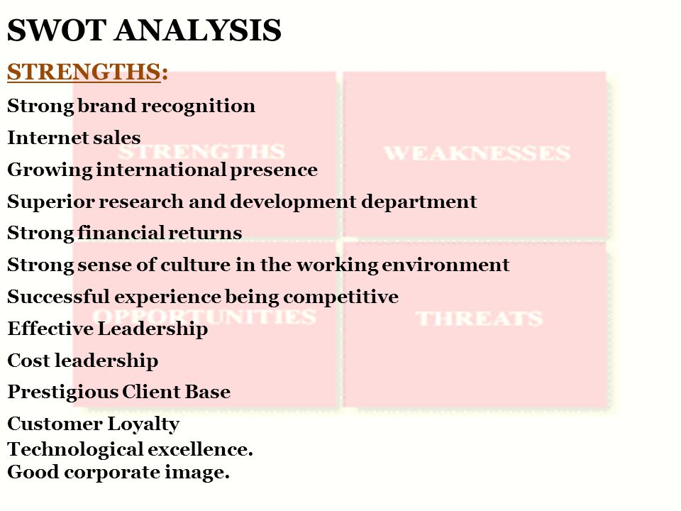 SWOT ANALYSIS STRENGTHS: Strong brand recognition Internet sales Growing international presence Superior research and development department Strong financial returns Strong sense of culture in the working environment Successful experience being competitive Effective Leadership Cost leadership Prestigious Client Base Customer Loyalty Technological excellence.